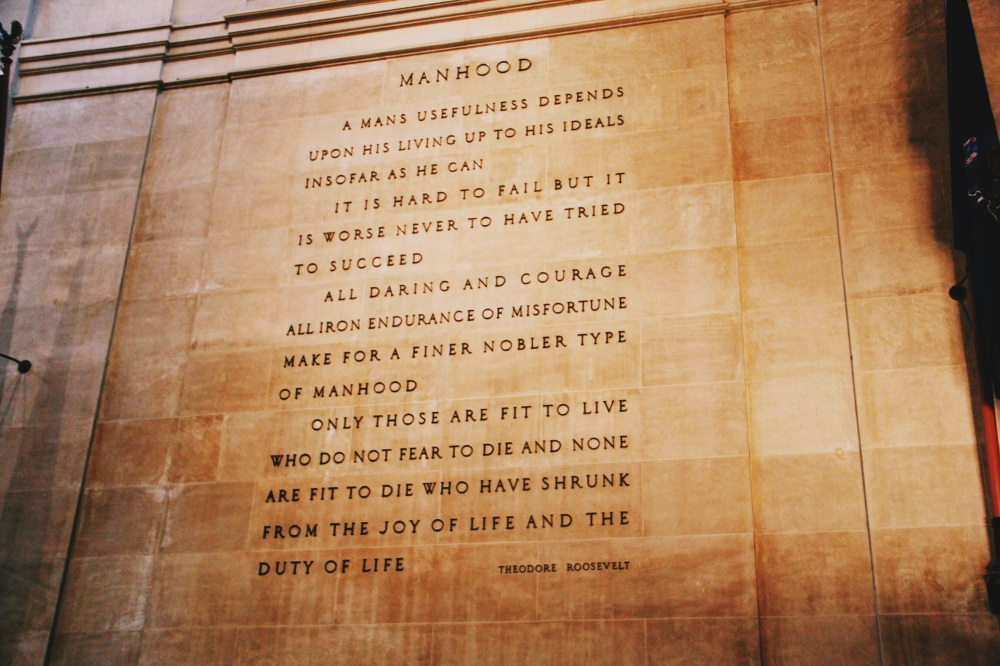 Manhood quote in the Natural History Museum