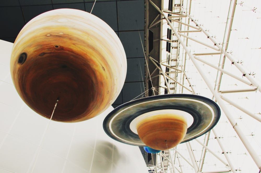 Saturn and Jupiter in Scale