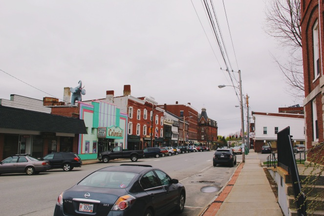 Colorful streets in Belfast Maine