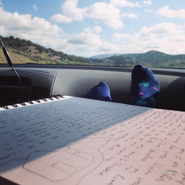 feet up on the dashboard, us 160