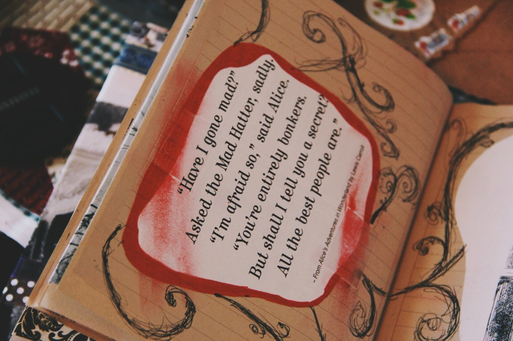 alice in wonderland art journal page quote