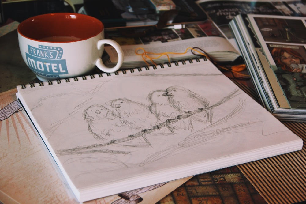Coffee and Little birds sketch