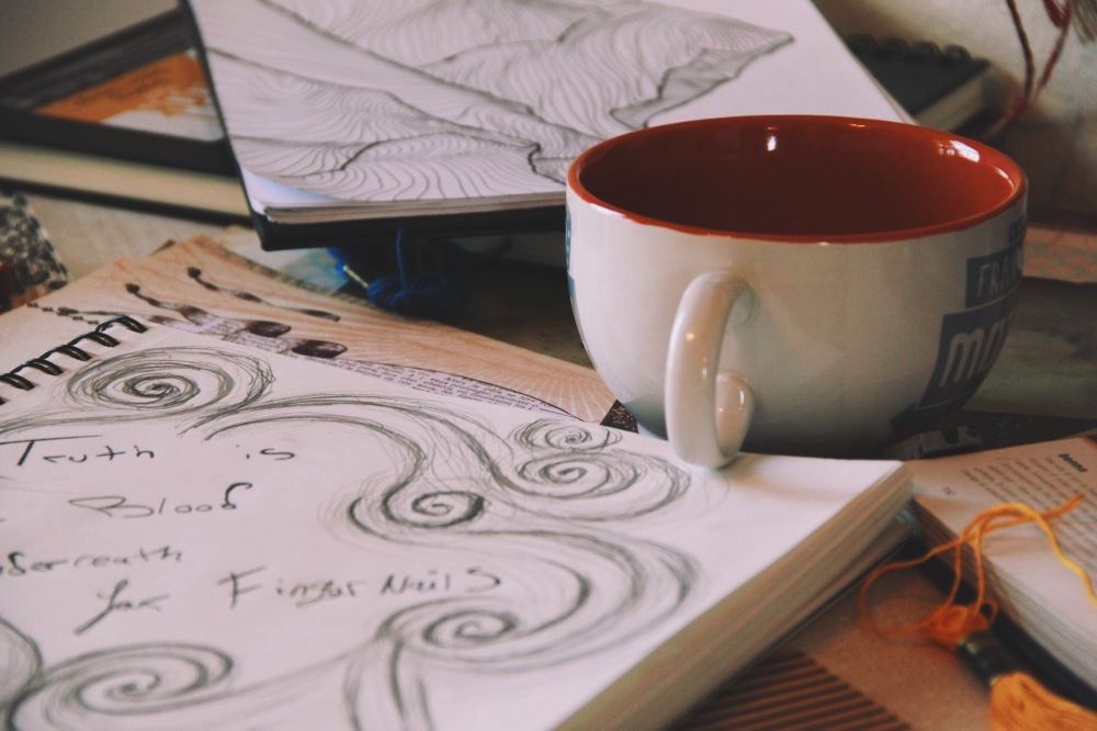 Coffee,sketches and dreams of mountains in North Texas