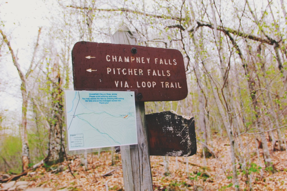 Champney Falls trail signs