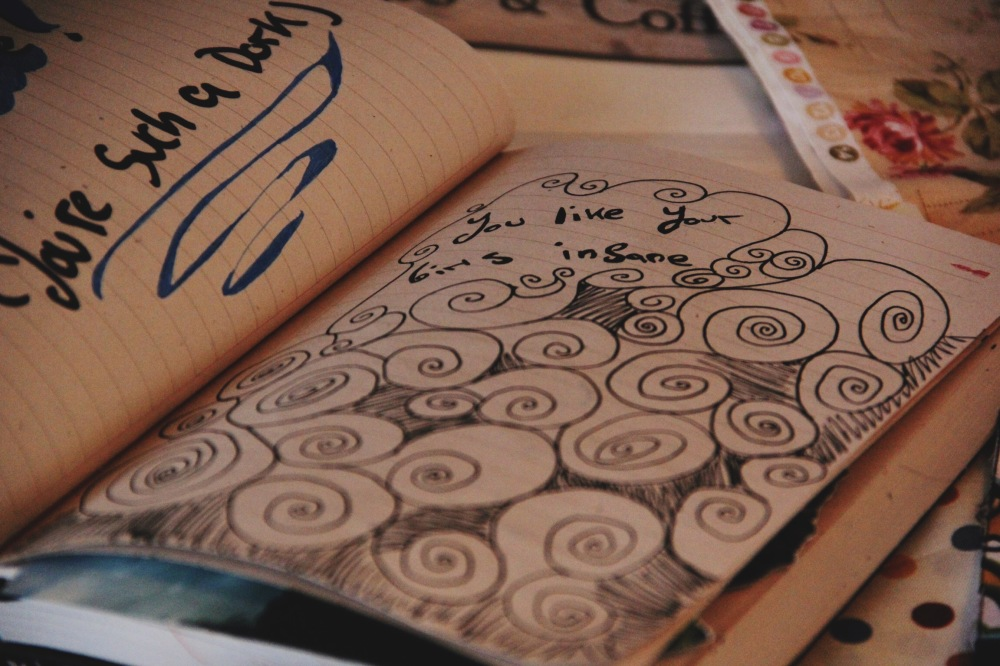 Swirls and coffee, art journal page