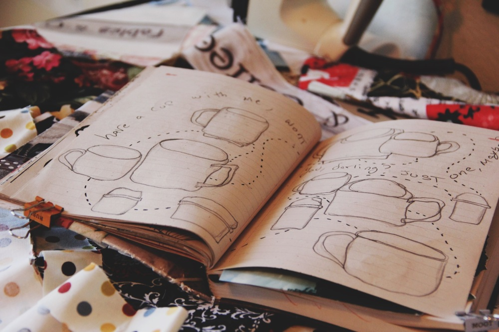 Art journals page, coffee cups illustrations