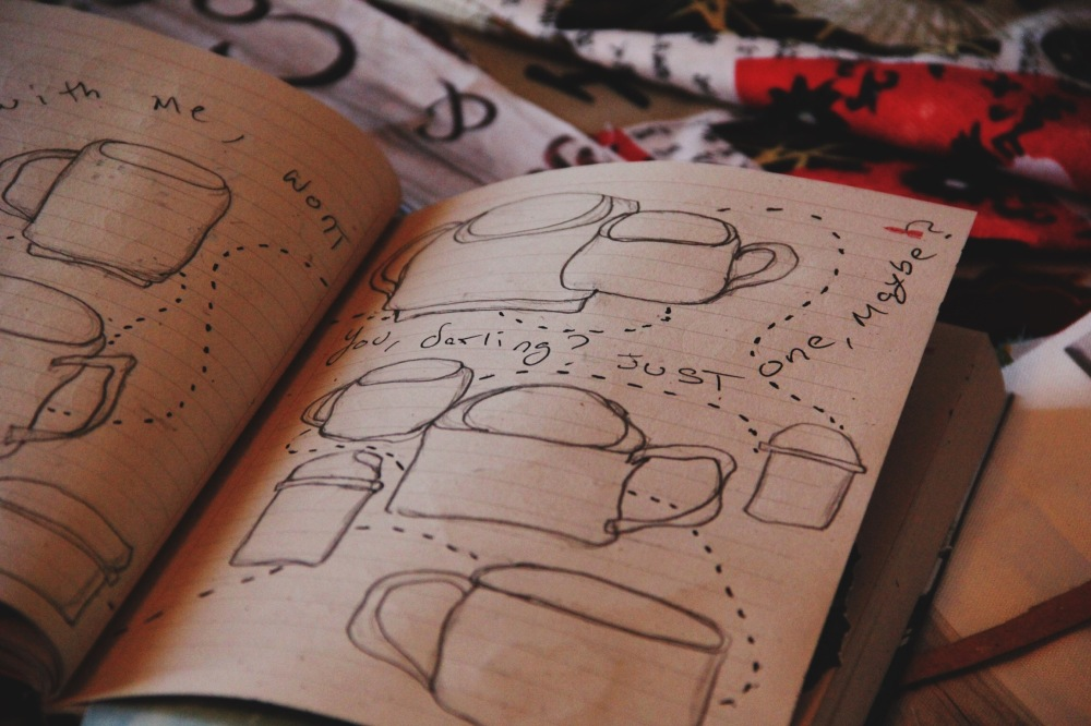 coffee cups drawing art journal page