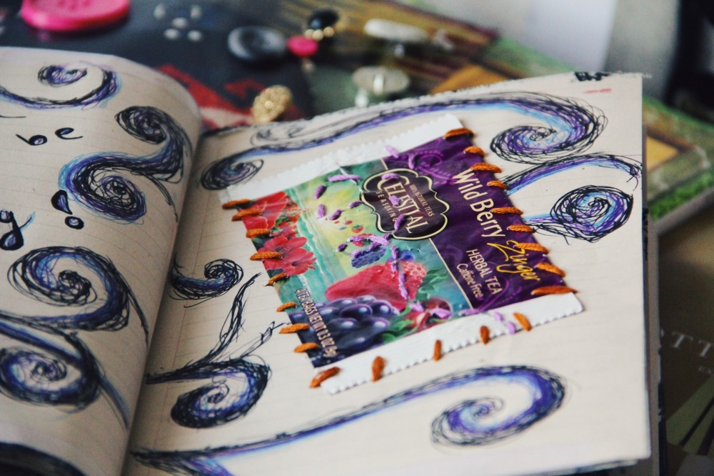 embroidery thread art journal pages