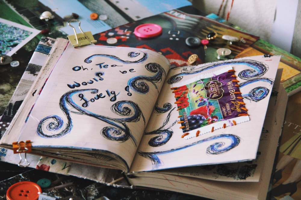 Tea would be lovely! art journal page