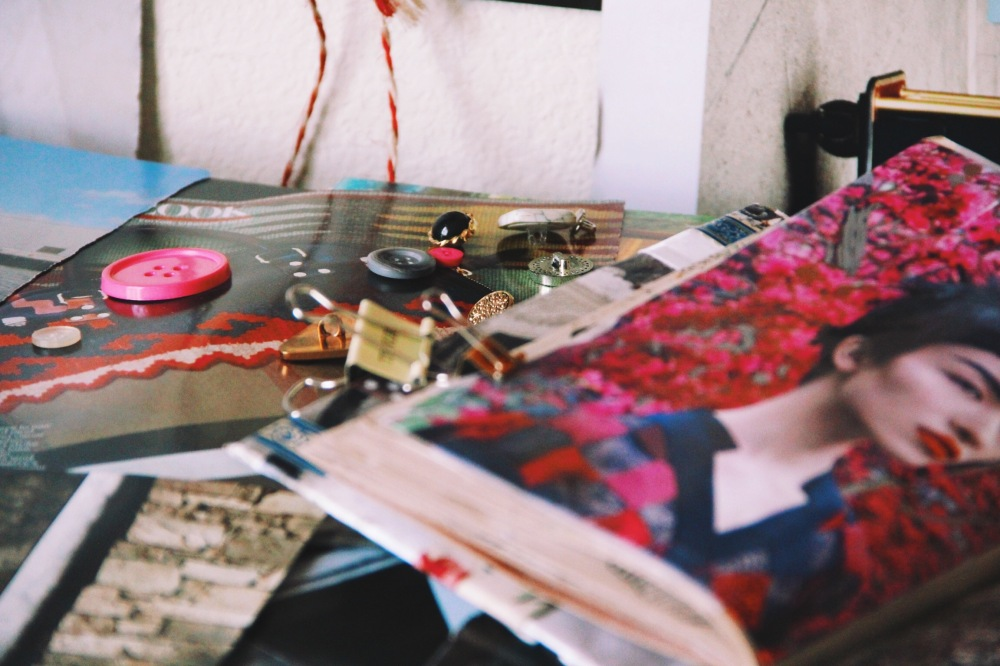 buttons and fashion art journal pages
