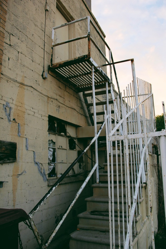 Up these rickety stairs