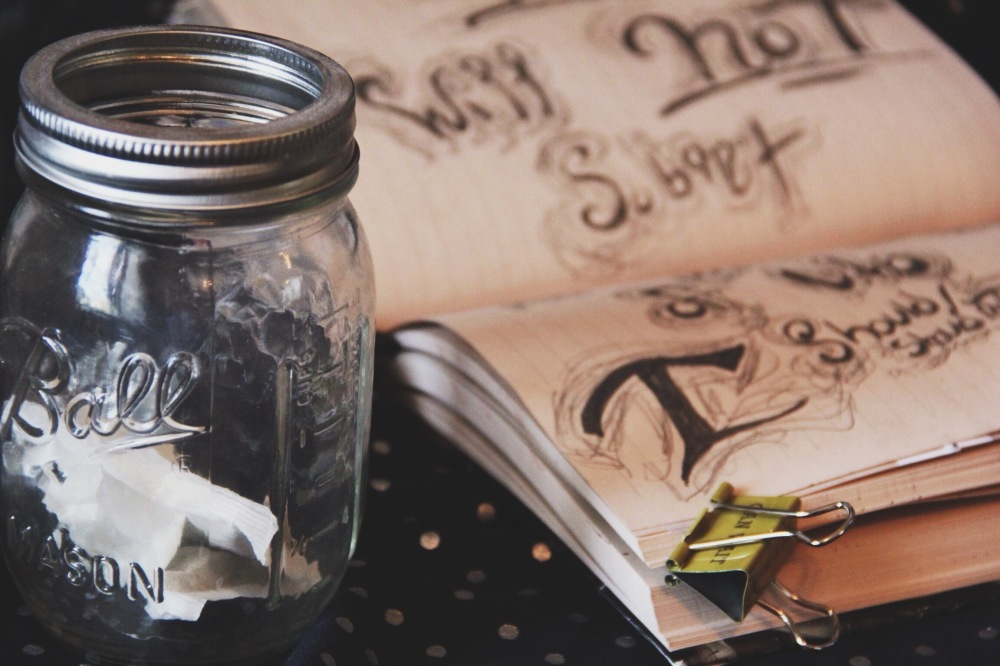 Art journals and mason jars