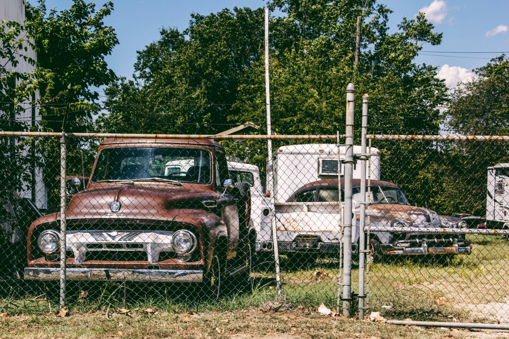 Rusty vintage autos in east texas