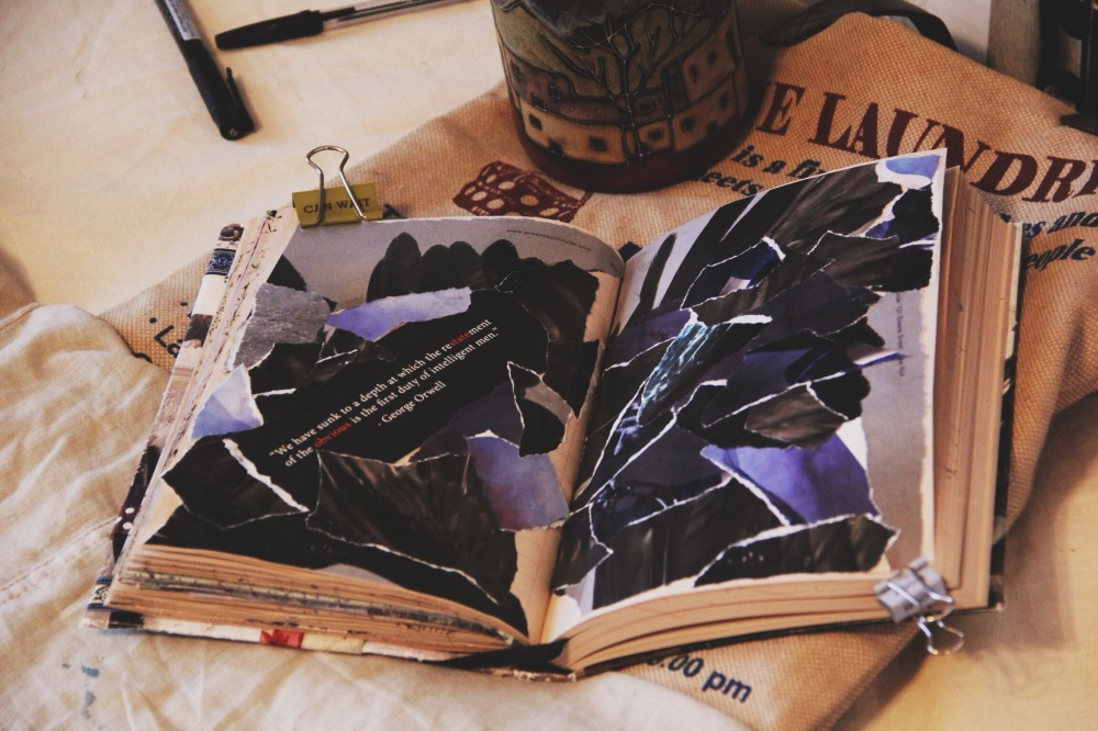 torn pages, art journal post, fables and coffee