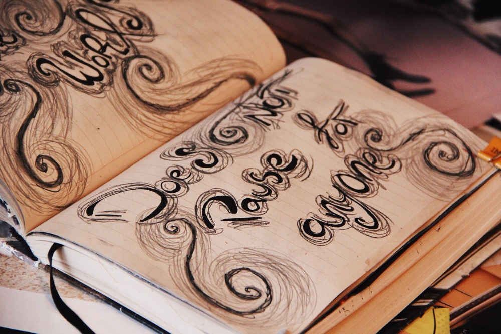 typography art journal pages, fables and coffee
