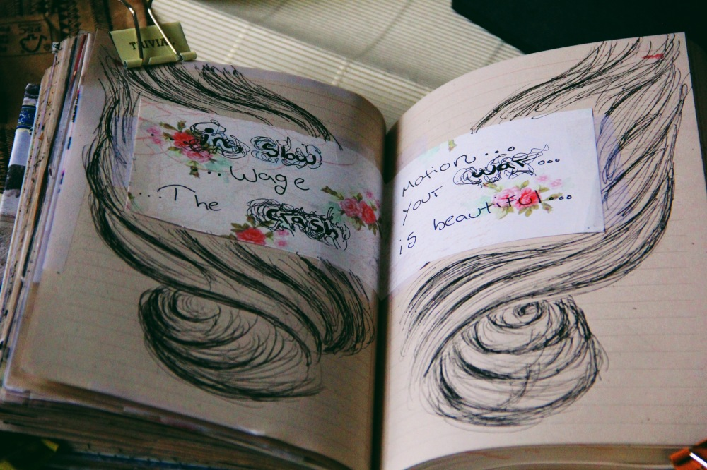 in slow motion, art journal pages