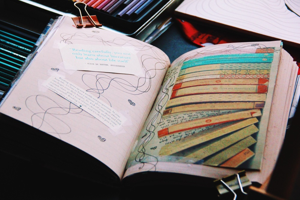 colorful art journal pages, fablesandcoffee