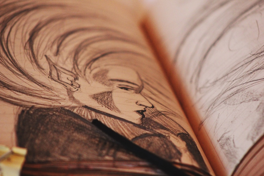 elf in profile, art journal