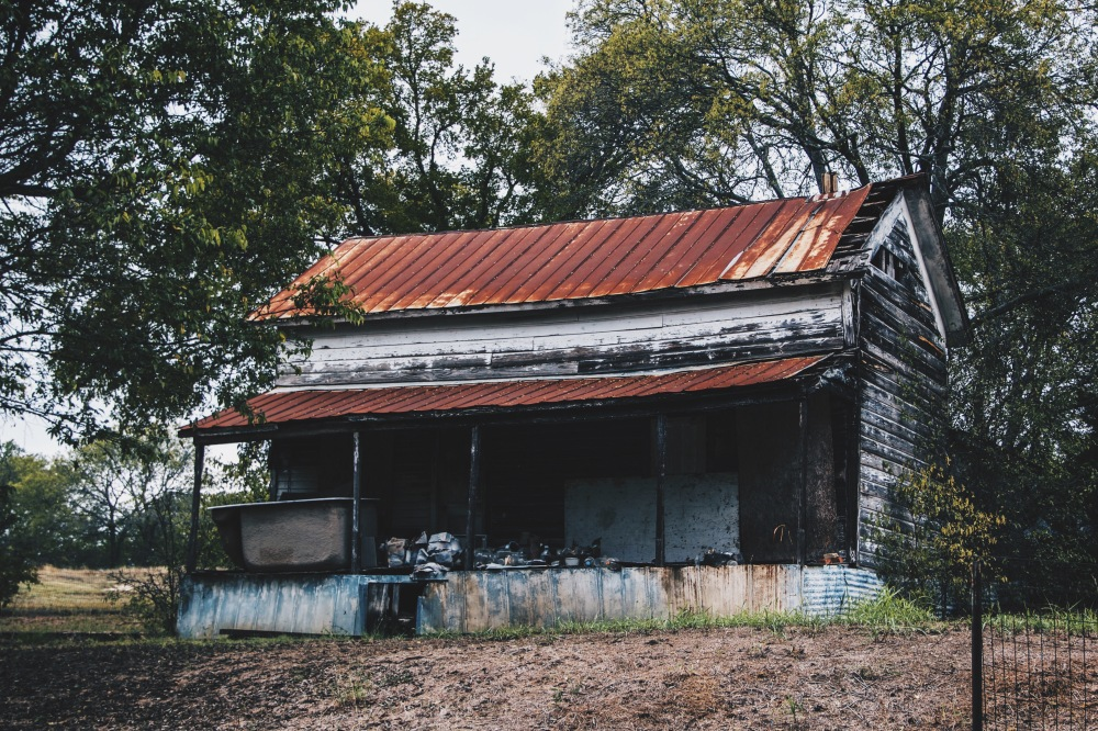 little house, rusted roof, Canon, Texas