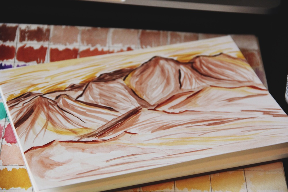watercolor mountains, Fables and Coffee