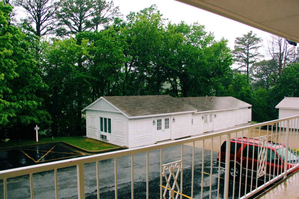 Overlooking the green from our Best Western room