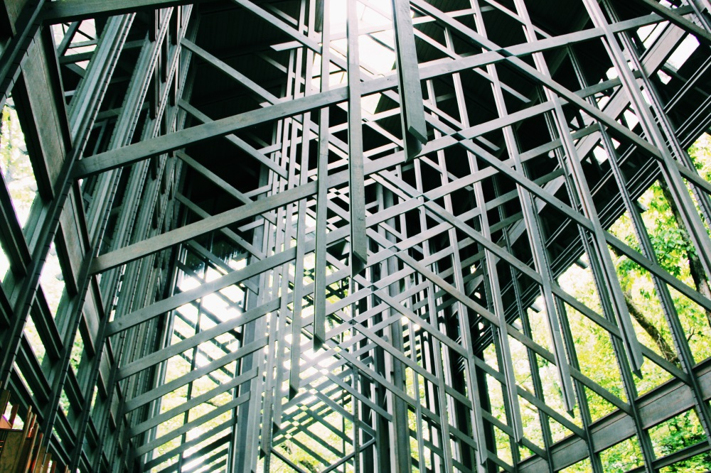 The architecture inside Thorncrown Chapel