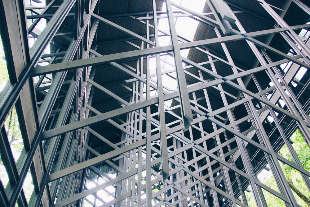 The silver light beams, Thorncrown Chapel