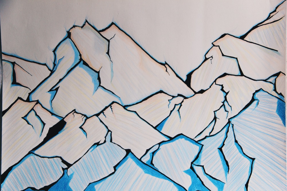 The ice mountains, colored pencil art