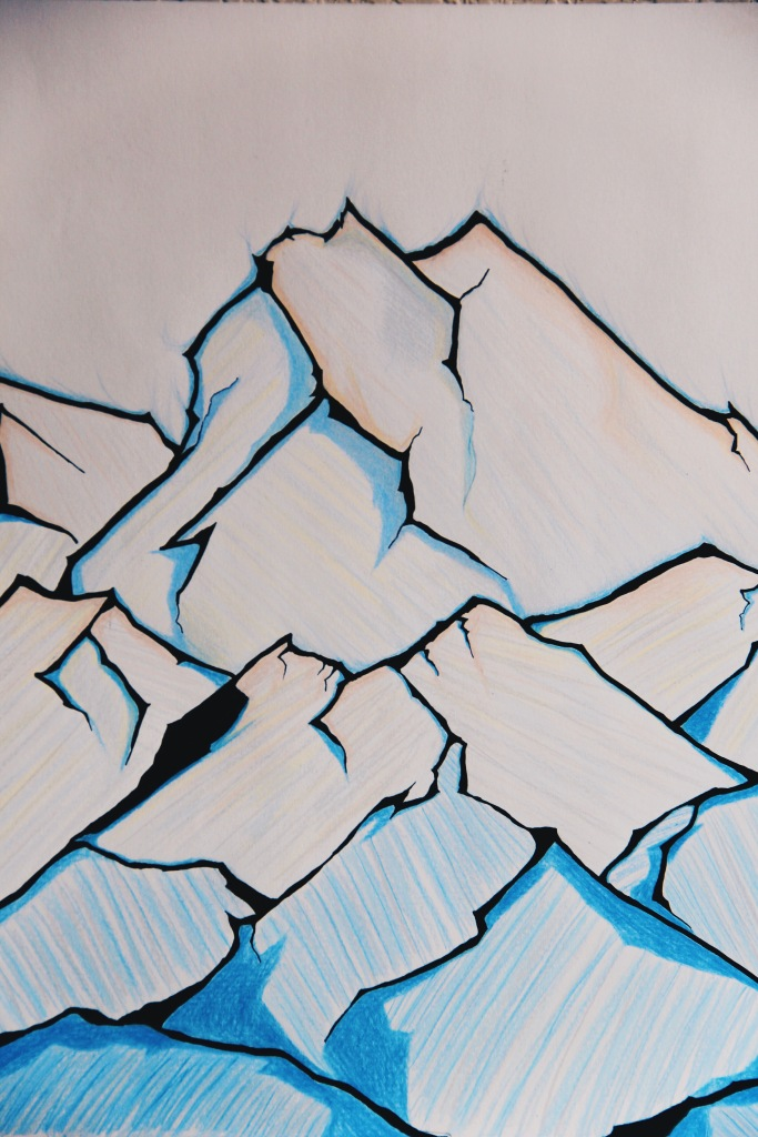 The Ice Mountains, coloured pencil art