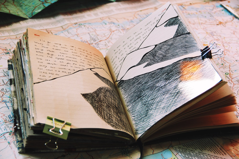 the words and the shadow of the mountain, art journal