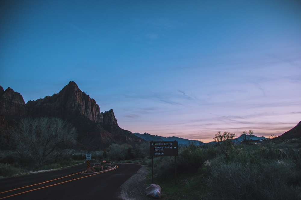 Dusk at Zion National Park