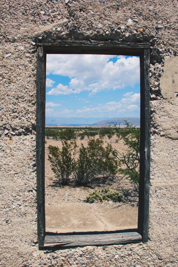 window to Mariscal Mines, Big Bend natl. park